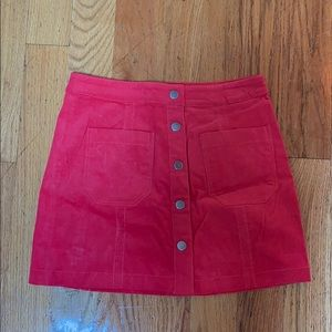 Cotton Candy red corduroy skirt
